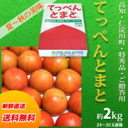 【送料無料】高知県仁淀川町産・てっぺんとまと・特秀品・約2kg(24~35玉前後)・通常箱入り・フルーツトマト