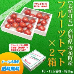 フルーツトマト・約1kg(10〜15玉前後)×2箱セット・高知県 夜須町産【送料無料】