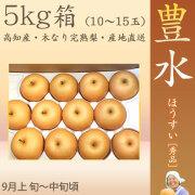 豊水 梨 (ほうすい なし)・秀品・5kg・10~15玉入り・徳久梨園の木なり完熟・豊水 【産地直送】