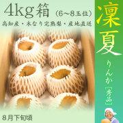 凜夏(りんか)梨(なし)・秀品・4kg・8玉~10玉前後入・木なり完熟・【産地直送】