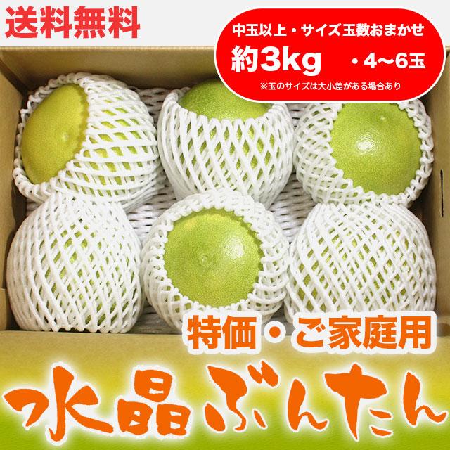 水晶文旦(高知県産)・特価ご家庭用・約3kg・(中玉以上・4〜6玉)【送料無料】
