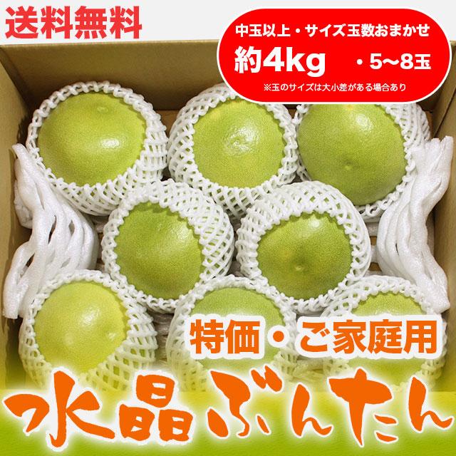 水晶文旦(高知県産)・特価 ご家庭用・約4kg・(中玉以上・5〜8玉)【送料無料】