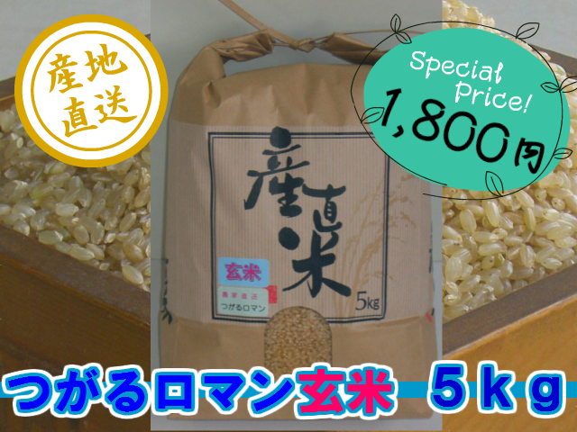 農家直送こだわりのつがるロマン 玄米5kg (平成30年産)