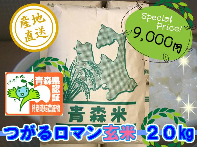 天然の有機質肥料でじっくり育てました 特別栽培米つがるロマン 玄米20kg (令和3年産・新米)