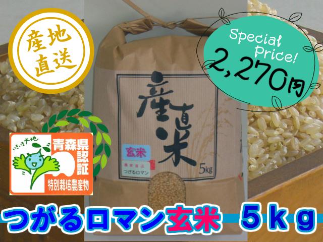 天然の有機質肥料でじっくり育てました 特別栽培米つがるロマン 玄米5kg (令和1年産・新米)