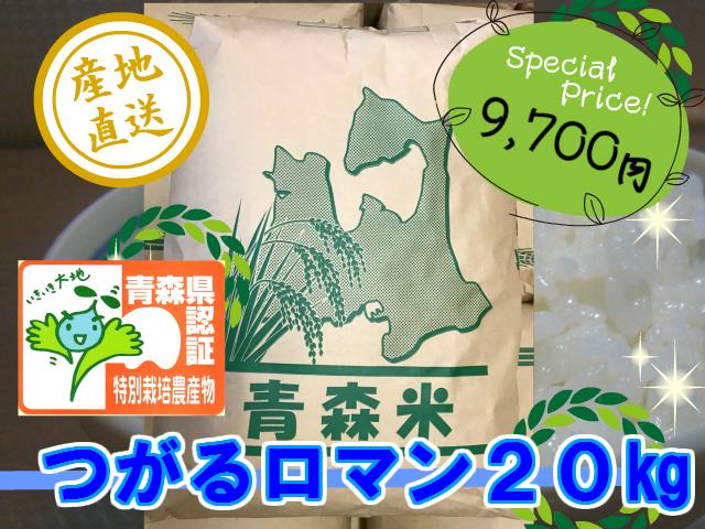 天然の有機質肥料でじっくり育てました 特別栽培米つがるロマン 精米20kg (令和3年産・新米)