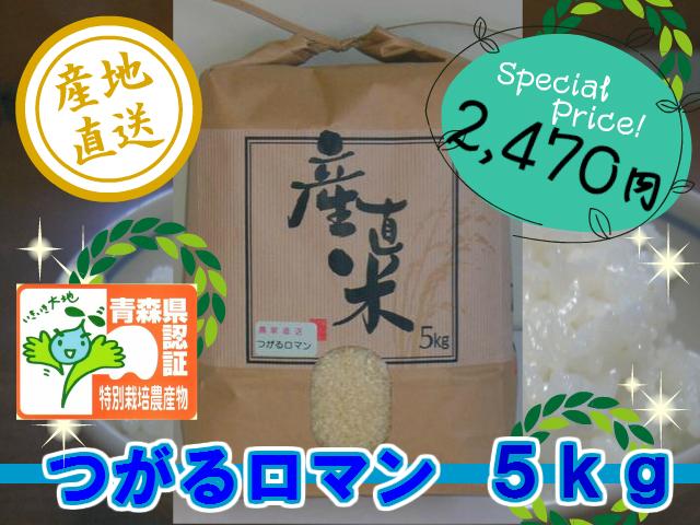 天然の有機質肥料でじっくり育てました 特別栽培米つがるロマン 精米5kg (令和3年産・新米)