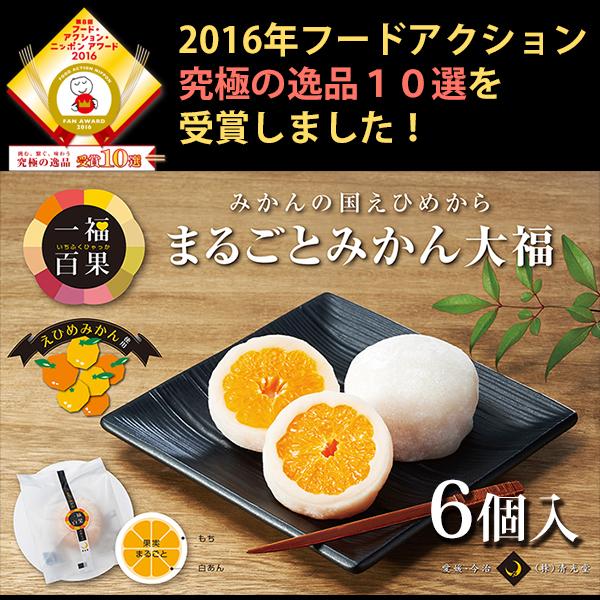 一福百果 まるごとみかん大福 6個入り 愛媛県今治にある和菓子屋 清光堂