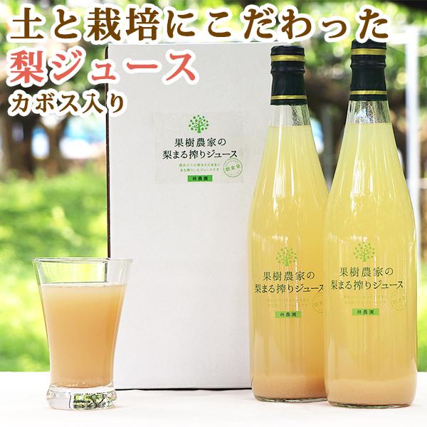 国産 無添加 果樹農家のまる搾り梨ジュース カボス入り 720ml×2本 林農園