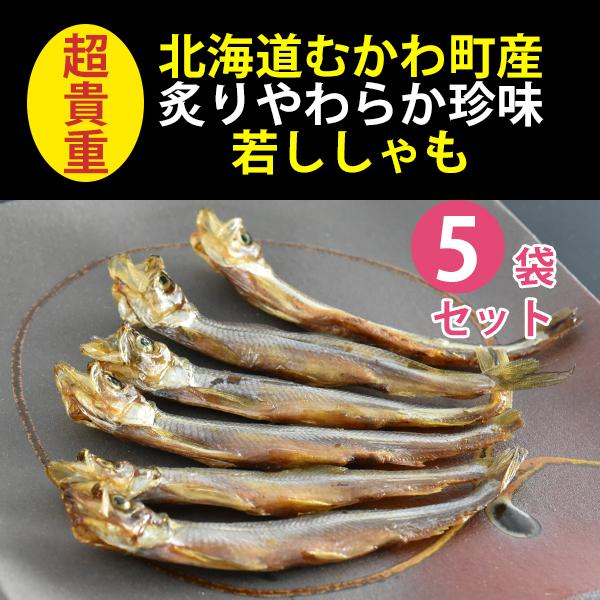 北海道むかわ町ししゃも使用 炙りやわらか珍味若ししゃも (約6尾)×5パック【無添加】