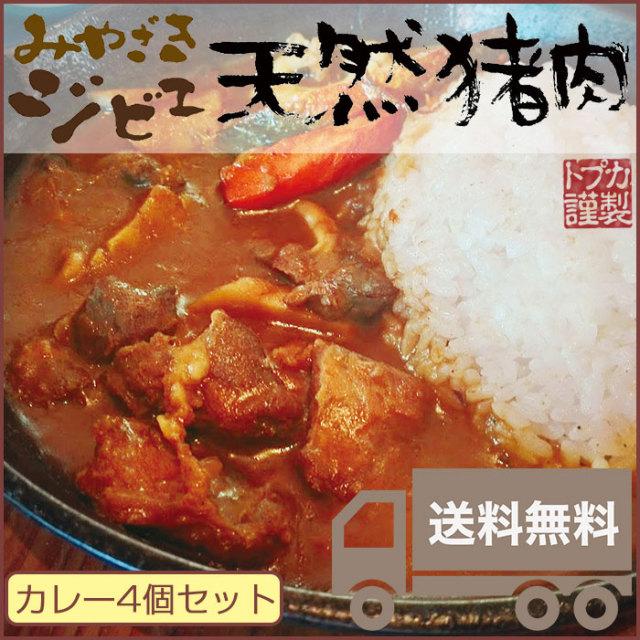 みやざきジビエ 天然猪カレー 4個セット【カリー専門店トプカ】
