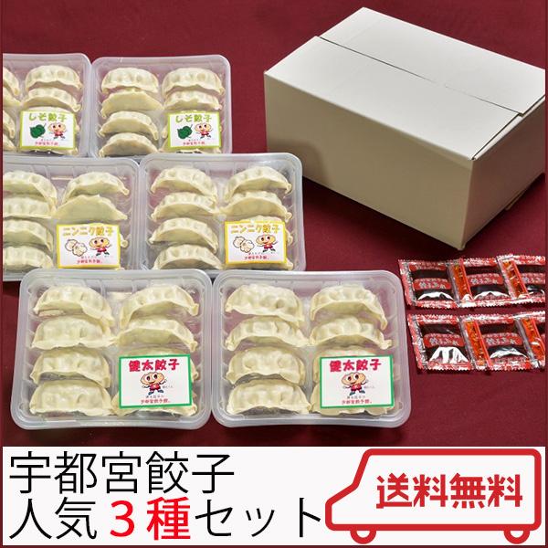 宇都宮餃子館  人気の3種セット(健太餃子・シソ餃子・ニンニク餃子)【さくら食品】