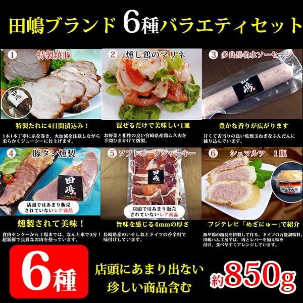 田嶋ブランド 6種バラエティセットB 850g【シャルキュティエ 田嶋ハム工房】