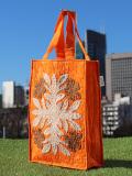 ハワイアンキルトA4バッグ ハイビスカス ブラウン・ベージュ オン オレンジ