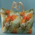 トート、バッグ、きんちゃく、美しい、夏、やし、オレンジ、ブラウン