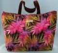 トート、バッグ、きんちゃく、、美しい、夏、やし、ピンク、イエロー