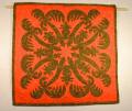 60センチ角、ハワイアンキルト、ムラ染め、タペストリー、手縫い、色合い、夕日とやしの木、ダークブラウン、ダークオレンジ