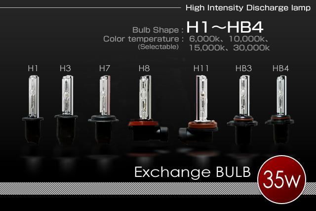 H.I.D System 補修パーツ35w H1/H3/H7/H11/HB3/HB4バーナー(左右セット)
