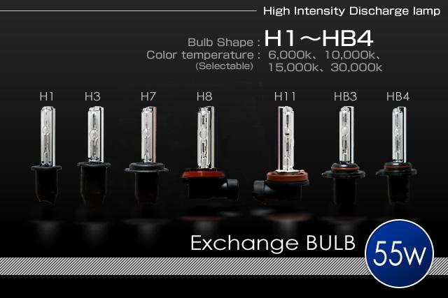H.I.D System 補修パーツ55w H1/H3/H7/H11/HB3/HB4バーナー(左右セット)