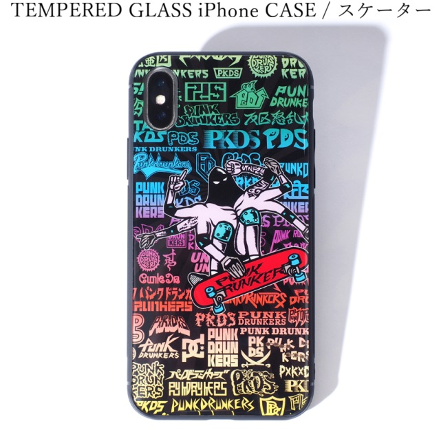 PUNK DRUNKERS パンクドランカーズ TEMPERED GLASS iPhone CASE スケーター