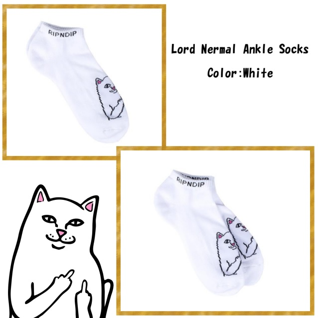 RIPNDIP リップンディップ Lord Nermal Ankle Socks (White)