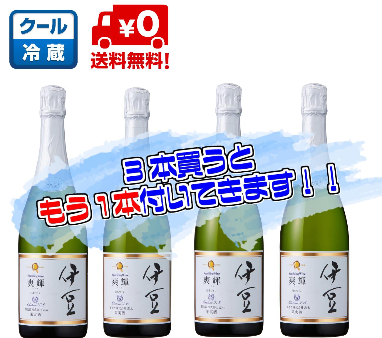 【送料無料】伊豆スパークリングワイン爽輝2017 3本セット(微発泡・白・辛口)