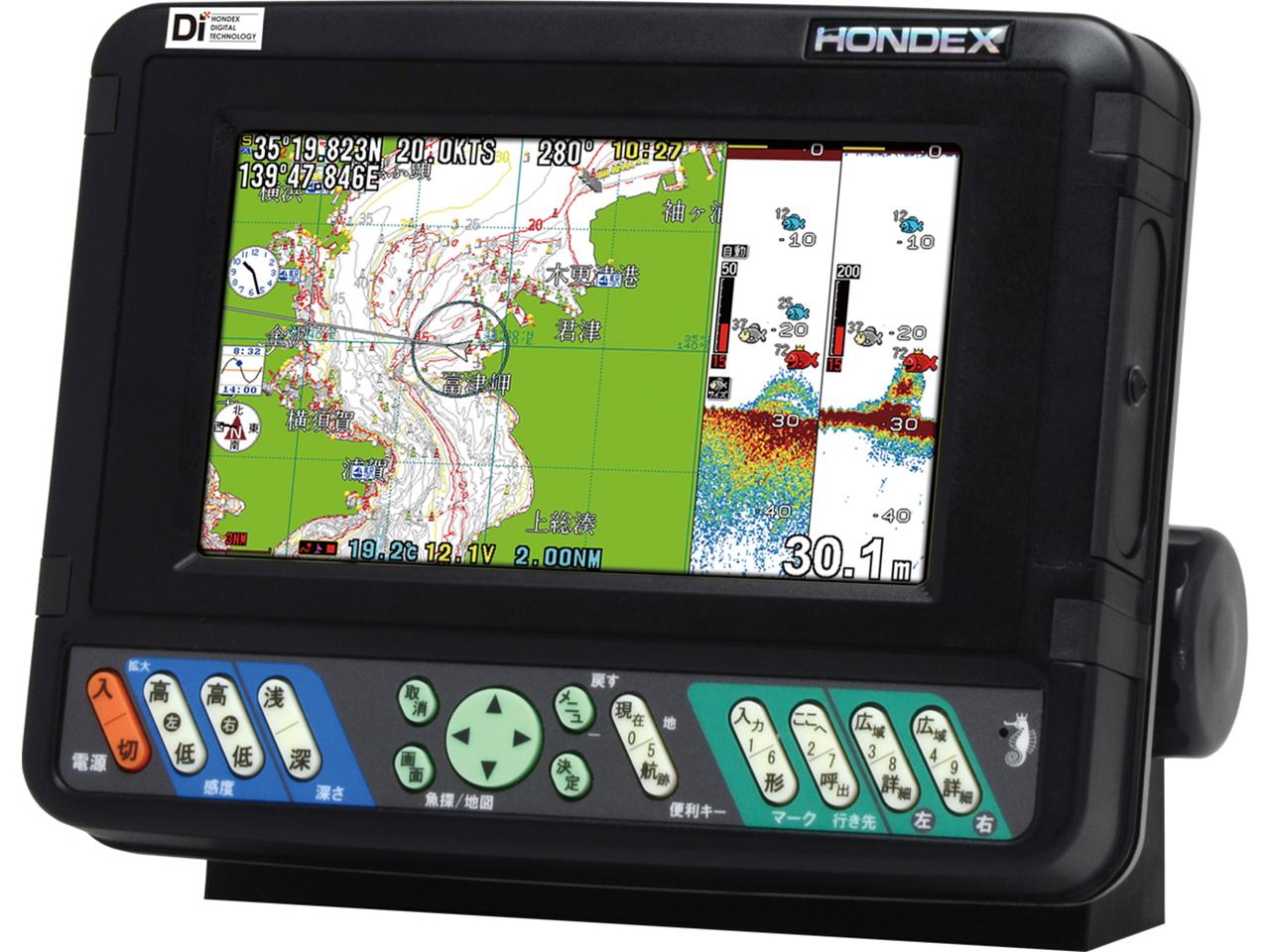 HONDEX 7型液晶プロッター魚探HE-701GP-Di ☆71248