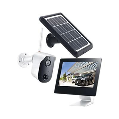 WiFi対応ソーラーバッテリー無線カメラ&モニターセット CAR-101