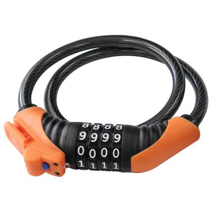 LEDライト付ダイヤル4段ワイヤー錠 1800mm