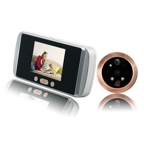 モニター付 ドアスコープカメラ (SDカード録画、人感センサー、暗視機能搭載)