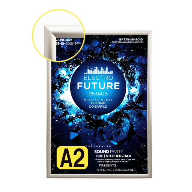 LEDライトパネル LED看板 LEDパネル 薄型 壁掛け看板 店舗用看板 ポスター入れ看板 内照式看板 四辺開閉式 高輝度 高品質 室内用 A2サイズ シルバー SH-20 A2