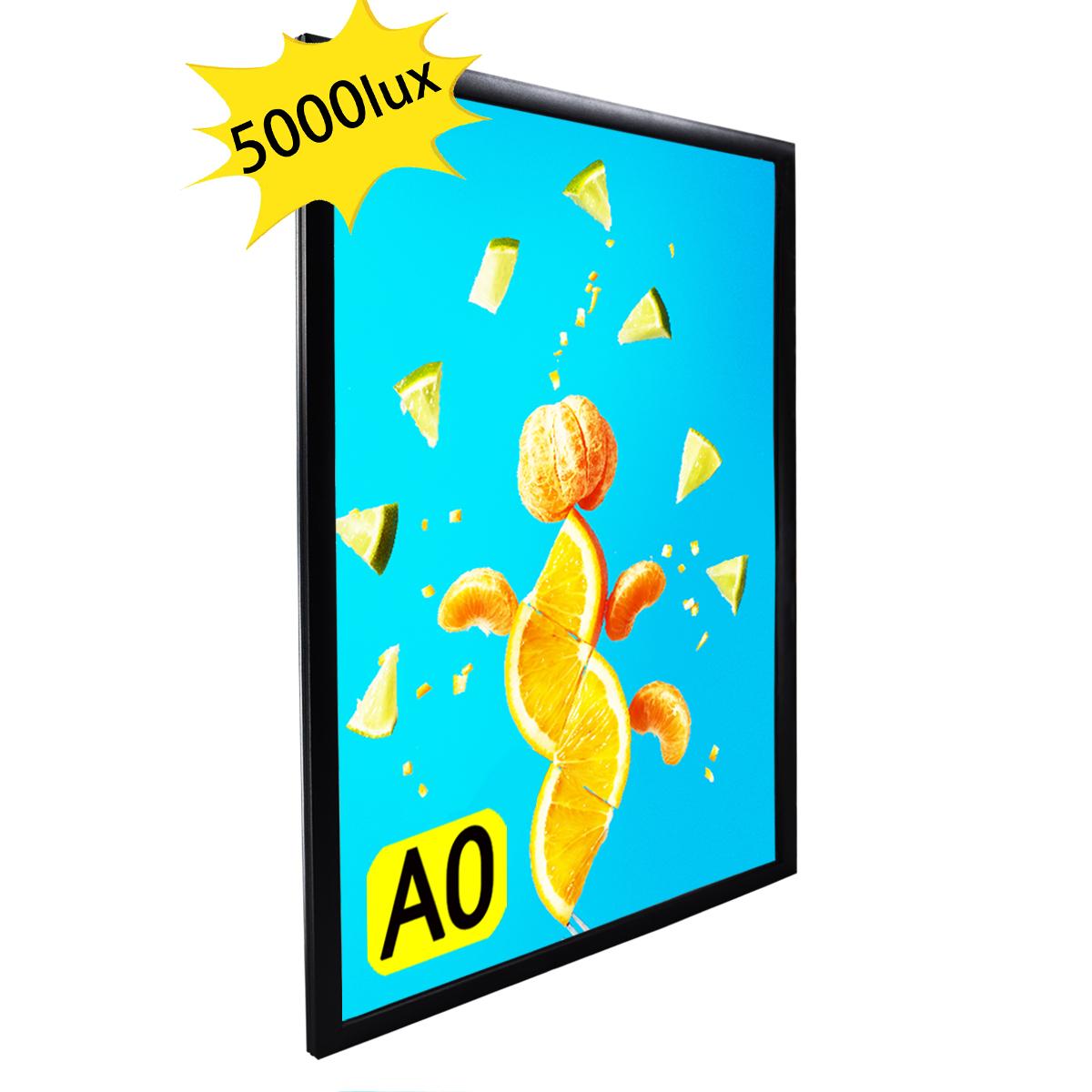 LEDライトパネル 屋内用 店舗用看板 壁掛け看板 四辺開閉式 高輝度 LED看板 黒色 A0サイズ OKH20-A0-BK