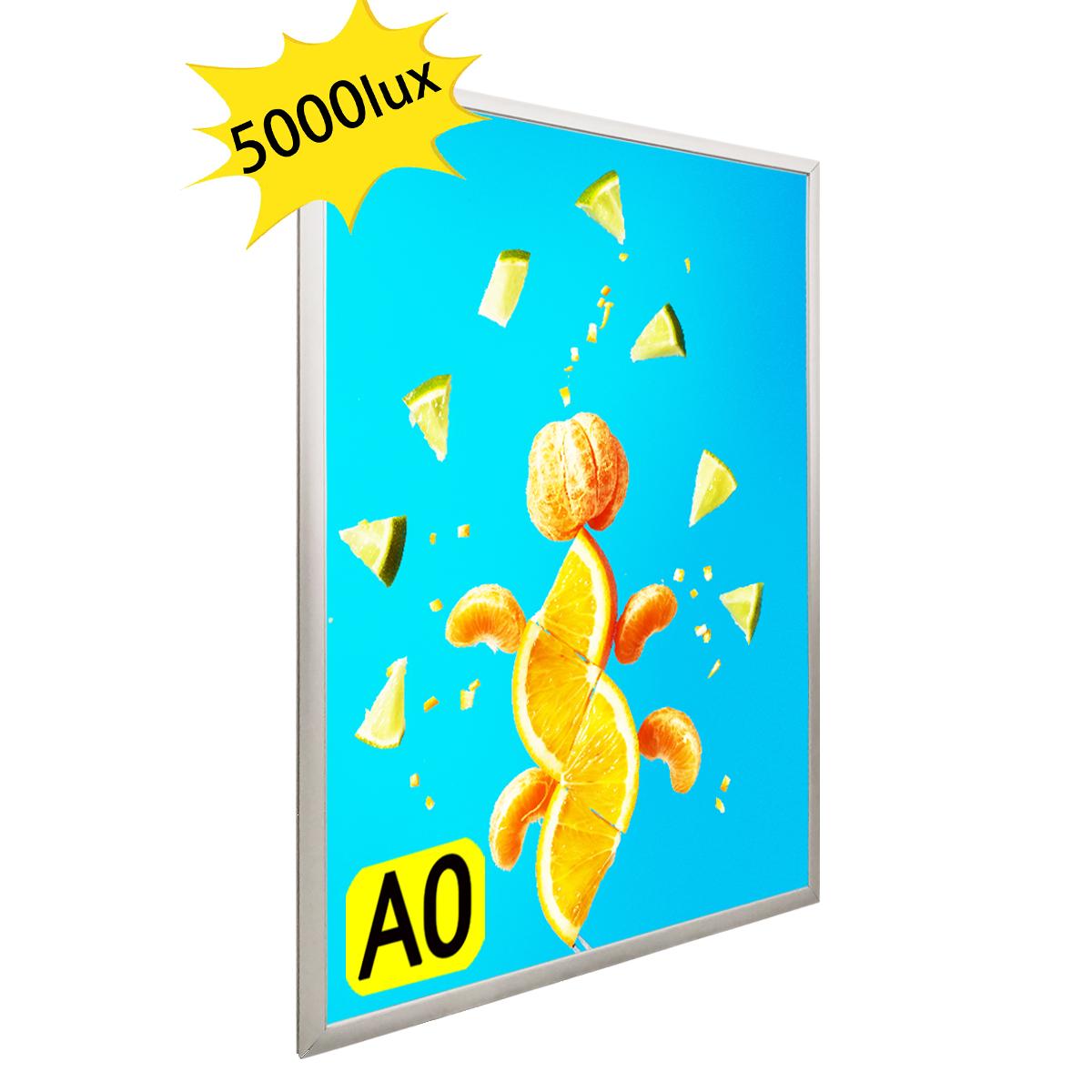 LEDライトパネル 屋内用 店舗用看板 壁掛け看板 四辺開閉式 高輝度 LED看板 シルバー色 A0サイズ OKH20-A0-SV