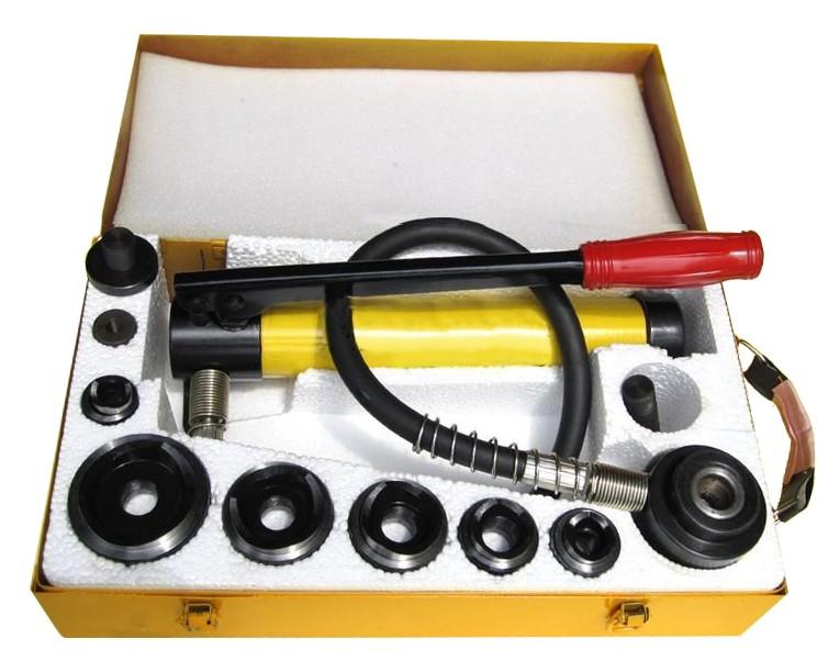 油圧パンチャー 手動 油圧パンチ パンチセット 10ton ダイス6個セット ポンプ付 油圧工具 油圧式ホルソーセット