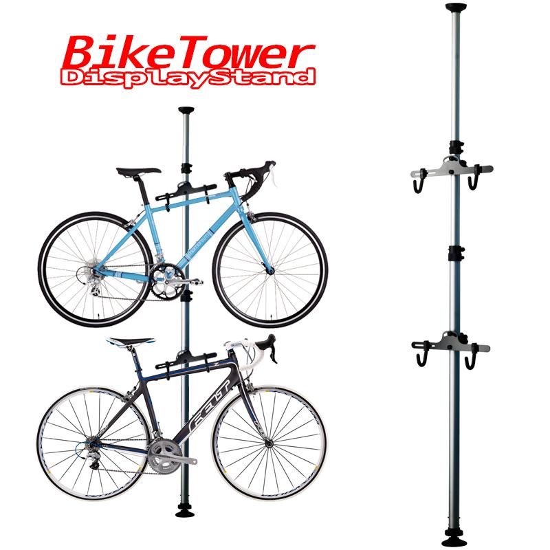 自転車 スタンド 室内 2台 自転車スタンド ディスプレイスタンド バイクタワー つっぱり式 シルバー 送料無料 [サイクルスタンド ディスプレイタワー 自転車ラック タワー 突っ張りポール式 バイク 収納 展示用 インテリア]