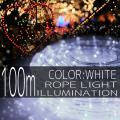 イルミネーション ロープ ライト 100m 3000球 3000灯 LED 白 ホワイト 延長用 クリスマスイルミネーション イルミ