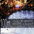 イルミネーション ロープ ライト 100m 3000球 3000灯 LED 白 ホワイト コントローラー付 クリスマスイルミネーション イルミ