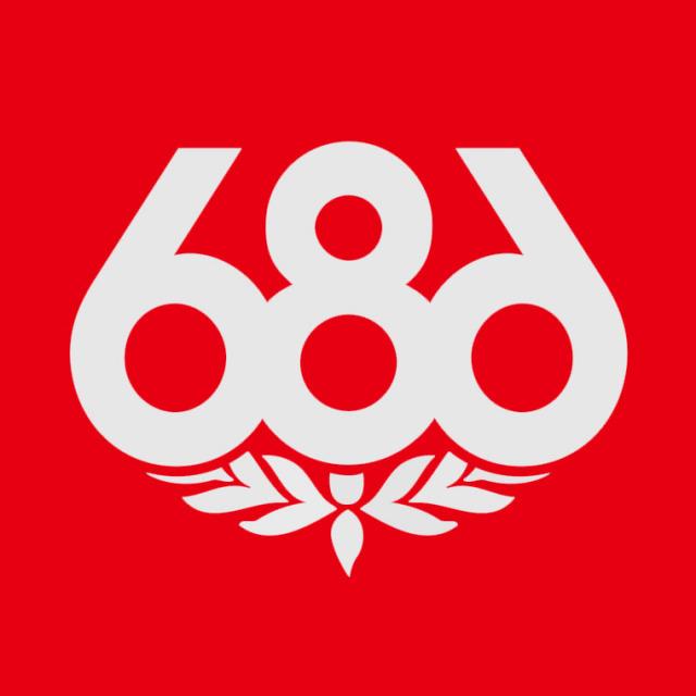 686 シックスエイトシックス/Knock Out Logo Sticker カッティングステッカー/約15.2cm×約15.2cm ゆうパケット対応商品