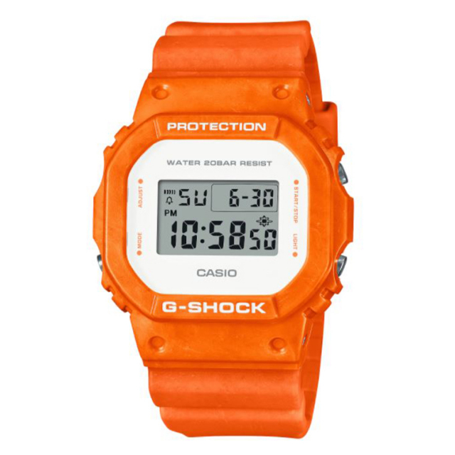 G-SHOCK DW-5600WS-4JF ジーショック 時計 腕時計 デジタル 新色オレンジ 混色樹脂使用で1点ごとに色柄違いあり