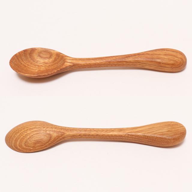 木のぬくもり雑貨 手作り 木製食器 クルミの木スプーン 色柄1点もの 蜜ろう塗加工