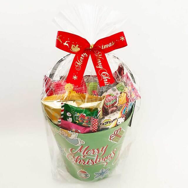 クリスマスお菓子のプレゼント。オリジナルデザインの紙バケツ【クリスマスバケツ】