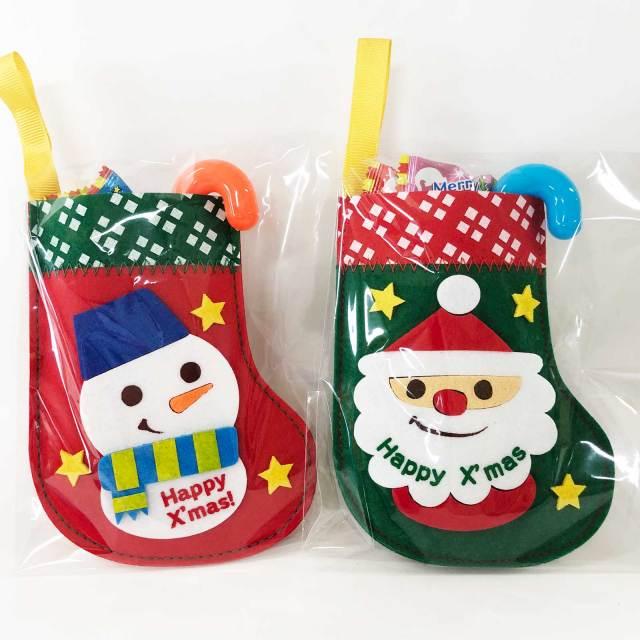 サンタとスノーマンのフェルトフェルト製くつ下【クリスマスチェックプチブーツ 2種アソート】