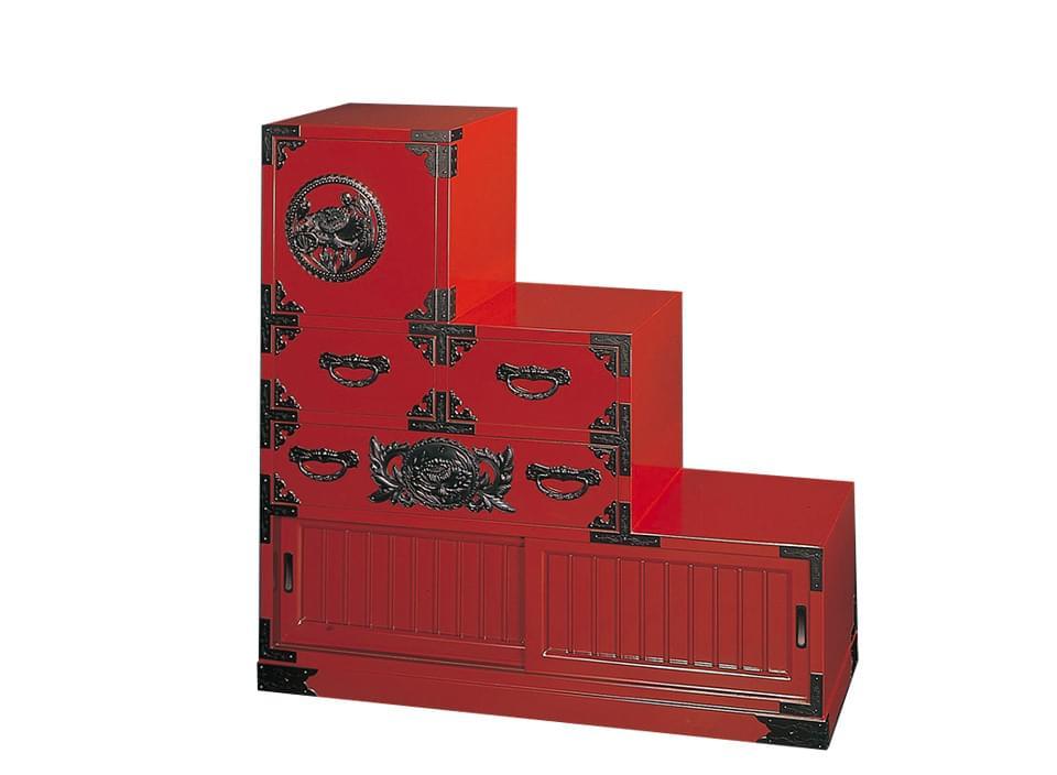 仙台箪笥 三尺階段箪笥(左) KB-40L/KEB-40L/KR-40L 木地呂漆塗り/朱色漆塗り/伝統色漆塗り