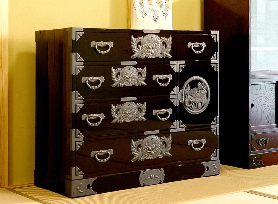 仙台箪笥 用箪笥 KB-6/KEB-6/KR-6 木地呂漆塗り/朱色漆塗り/伝統色漆塗り