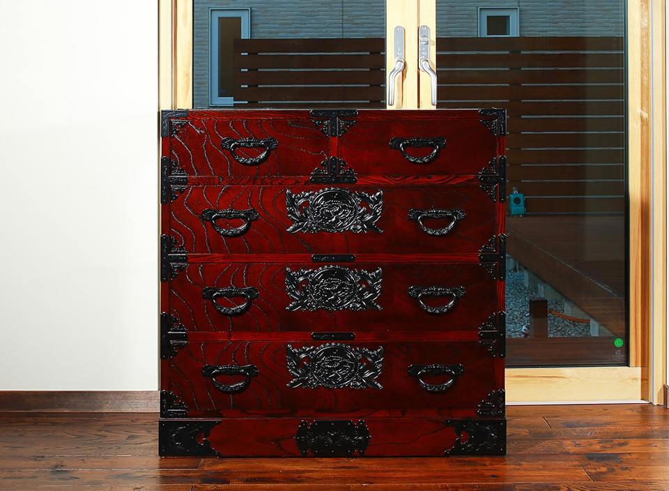 仙台箪笥 二.八尺箪笥 KC-107 拭き漆塗り