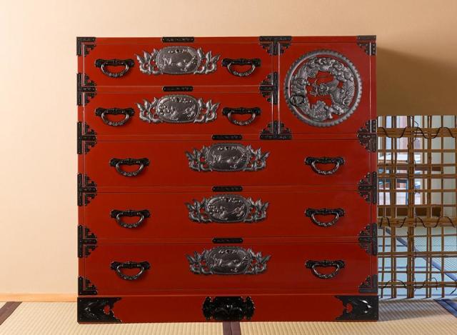 仙台箪笥 三.五尺片開箪笥100 KEB-106 木地呂漆塗り/朱色漆塗り/伝統色漆塗り