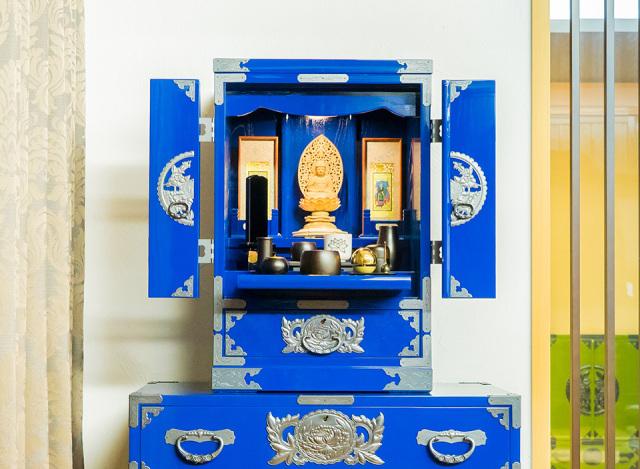 仙台仏壇(小) KB-114Dai 藍色漆塗り【40周年記念感謝祭商品】