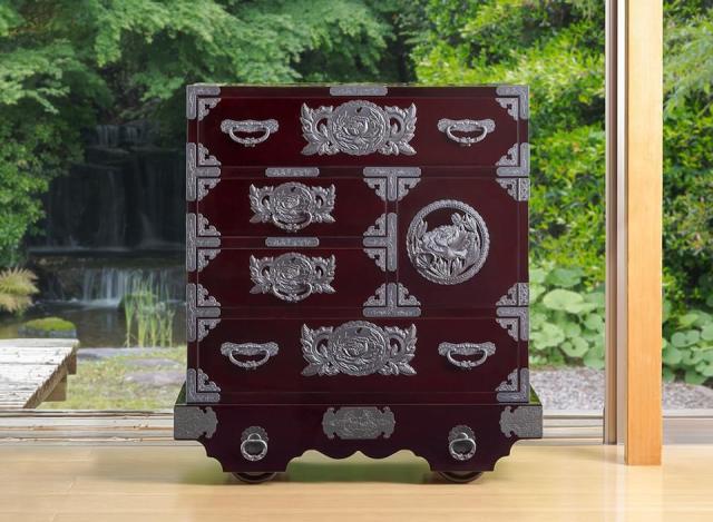仙台箪笥 中型車箪笥 KB/KEB/KR-18 木地呂漆塗り/朱色漆塗り/伝統色漆塗り