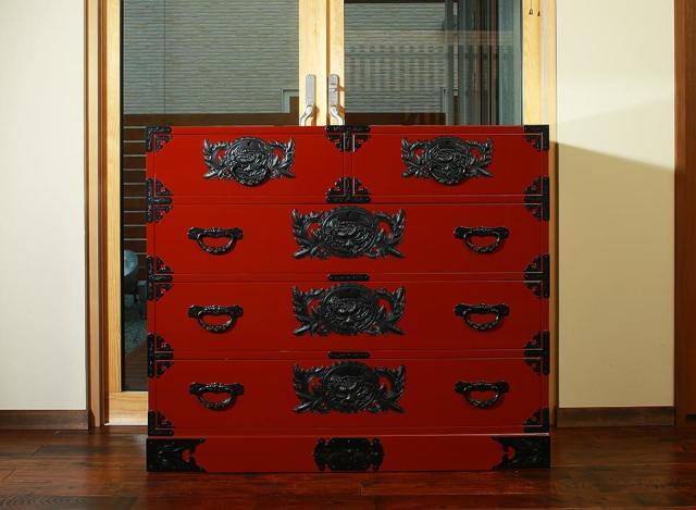 仙台箪笥 三.五尺箪笥90 KB-3M/KEB-3M/KR-3M 木地呂漆塗り/朱色漆塗り/伝統色漆塗り