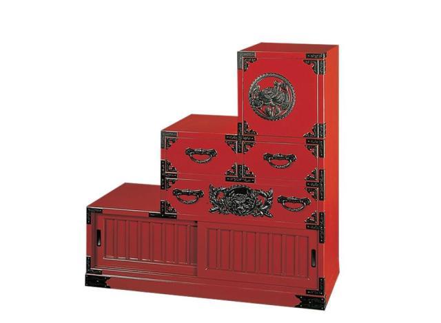 仙台箪笥 三尺階段箪笥(右) KB-40R/KEB-40R/KR-40R 木地呂漆塗り/朱色漆塗り/伝統色漆塗り